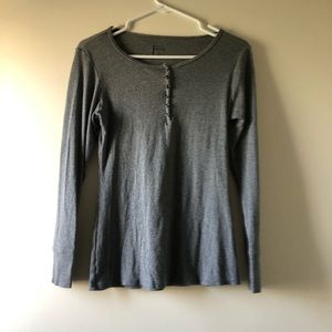 Half-Button Up Gray Long Sleeve
